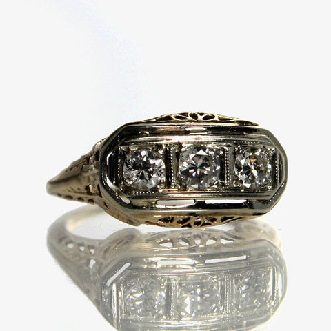 Art Deco Diamond Ring 14K Yellow And White Gold Size 5 - Greg DeMark