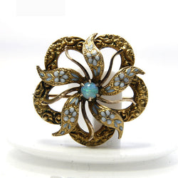 Antique Opal Flower Brooch 10K