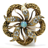 Antique 10K Blue Enamel Opal Flower Brooch - Greg DeMark