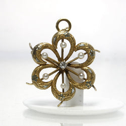 Antique 14K Enamel Diamond Pearl Flower Pendant Brooch