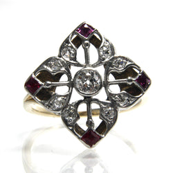 Antique Edwardian European Diamond Ruby Engagement Ring Size 6 1/2 - Greg DeMark