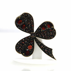 Antique Rose Cut Bohemian Garnet Shamrock Brooch - Greg DeMark