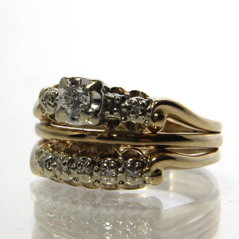 Vintage Diamond Wedding Set 14K Two Tone Size 8.75 Bridal Jewelry - Greg DeMark