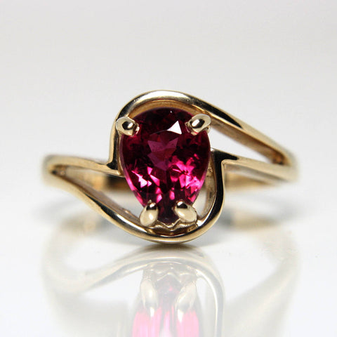 Rare Vintage 14K Red Rubellite Tourmaline Engagement Ring Size 7 - Greg DeMark