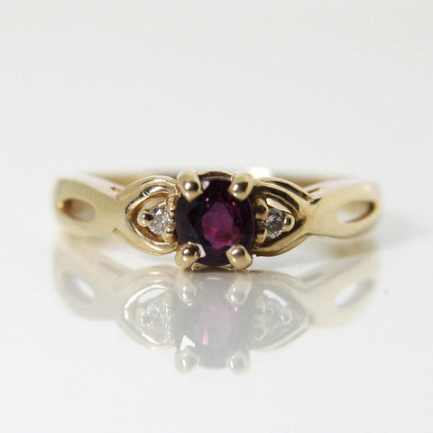 Vintage Ruby Engagement Ring 14k Yellow Gold Round Diamonds Size 7 - Greg DeMark