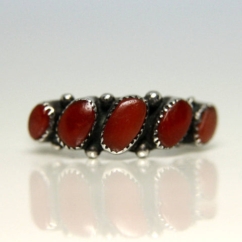 Native American Southwestern Sterling Coral Ring Size 5 3/4 - Greg DeMark