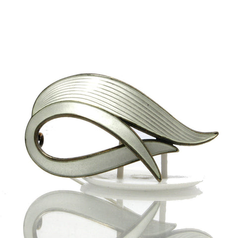 Vintage Norway Sterling Silver White Enamel Brooch Albert Scharning - Greg DeMark
