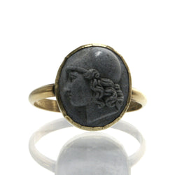 Antique Cameo Ring Carved Lava 14K Yellow Gold Size 7 1/4 - Greg DeMark