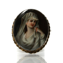 Antique Rolled Gold Hand Painted Miniature Portrait Porcelain Brooch - Greg DeMark