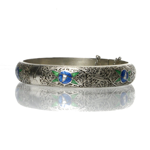 Vintage Enamel Filigree Bracelet 835 Coin Silver Bangle Signed Topazio - Greg DeMark