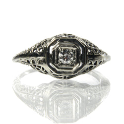Art Deco Diamond Filigree Engagement Ring 18K White Gold Size 5.25 - Greg DeMark