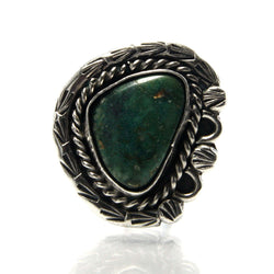 Vintage Navajo Green Turquoise Ring Size 4 - Greg DeMark