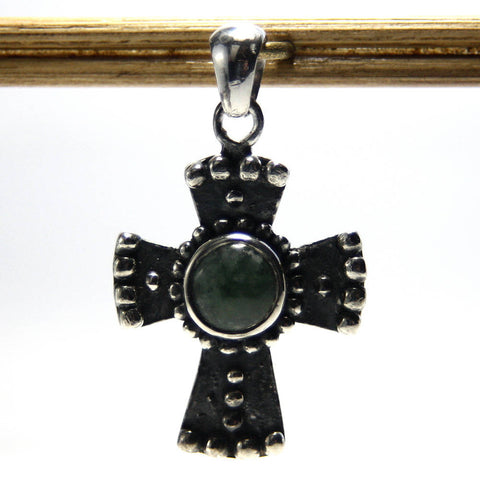 Vintage Sterling Jade Cross Pendant - Greg DeMark