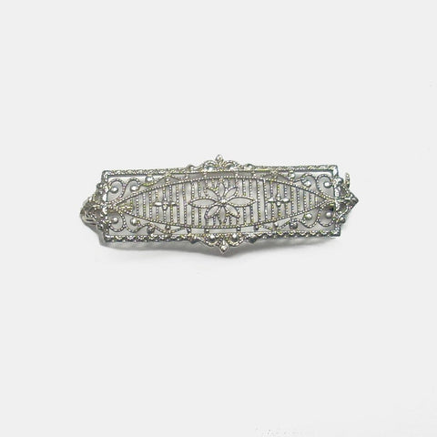 Art Deco Platinum And 14K White Gold Filigree Brooch - Greg DeMark