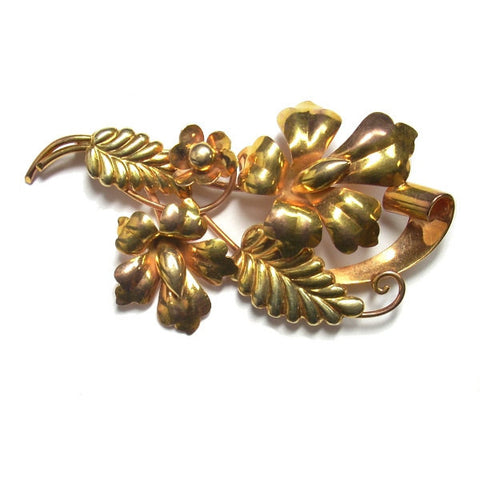 Vintage Retro 10K Yellow and Rose Gold Flower Brooch Carl Art - Greg DeMark