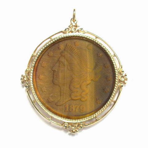 Vintage Cameo Pendant 14k Yellow Gold With Carved Tiger Eye - Greg DeMark