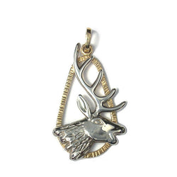 Elk Pendant 14k Yellow Gold and Sterling Silver Wildlife Jewelry - Greg DeMark