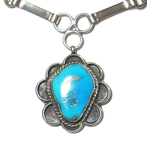 Native American Sterling Turquoise Necklace - Greg DeMark