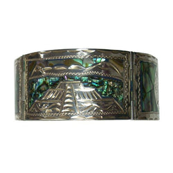 Mexican Silver Bracelet Abalone Inlay 6 7/8 Inches Long Eagle Mark 4 - Greg DeMark