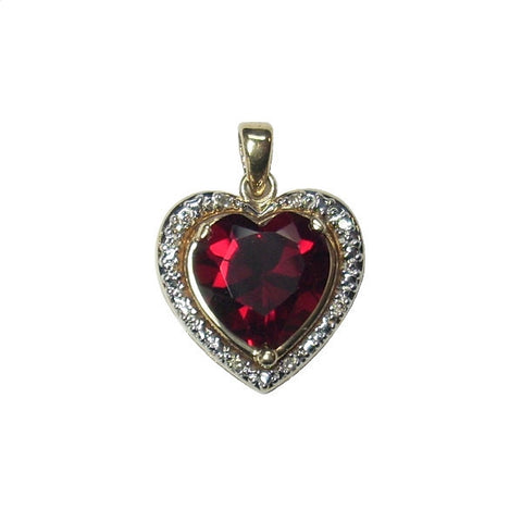 Vintage Lab Created Ruby Heart Pendant With Diamonds 10K Yellow Gold - Greg DeMark