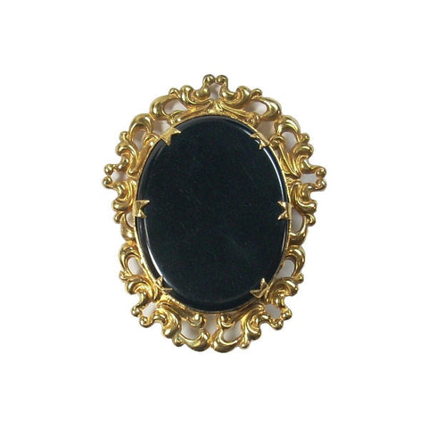 Victorian Revival Brooch Mourning Jewelry With Black Plastic Cabochon - Greg DeMark