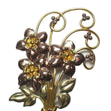 Retro Flower Brooch Signed 12K Gold Filled Over Sterling Silver - Greg DeMark