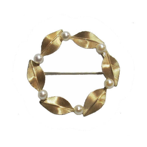 Vintage Krementz Circle Brooch With Cultured Pearls Mid 20th Century - Greg DeMark