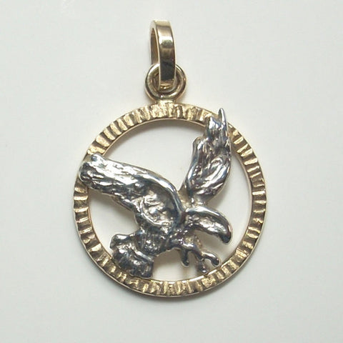Eagle Pendant 14K Yellow Gold and Sterling Silver Wildlife Jewelry - Greg DeMark