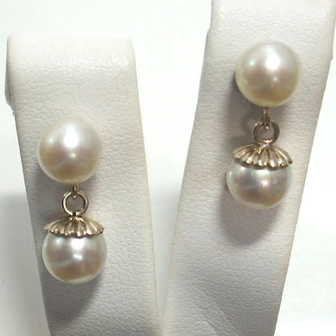 Vintage 14K White Gold Cultured Akoya Pearl Dangle Earrings - Greg DeMark