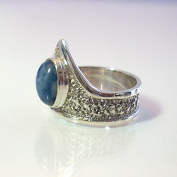 Lapis Lazuli Ring Sterling Silver Size 8 With Textured Finish - Greg DeMark