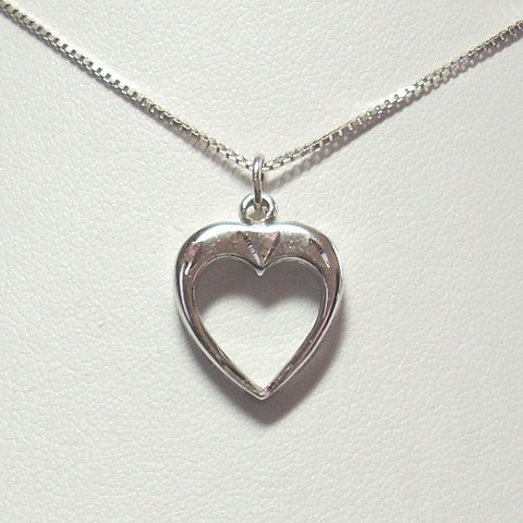 Vintage Heart Pendant Necklace Sterling Silver With 18 Inch Chain - Greg DeMark