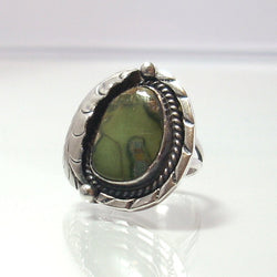 Vintage Sterling Navajo Gaspeite Feather Ring Size 4 1/4 - Greg DeMark