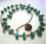 Old Navajo Santo Domingo Turquoise and Heishi Shell Bead Necklace - Greg DeMark