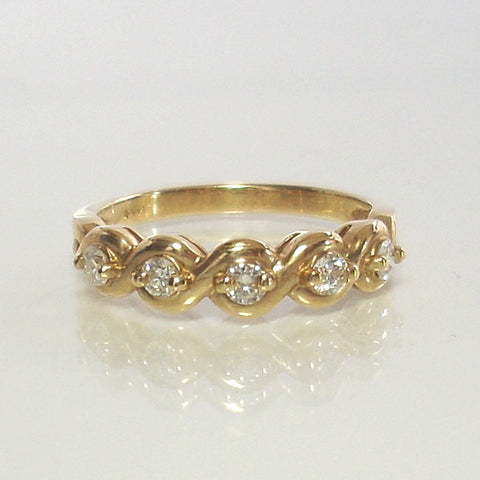 Vintage 14K Brilliant .25 Carat Diamond Wedding Band Size 6.75 - Greg DeMark