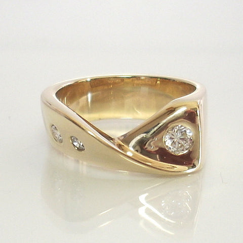 Diamond Engagement Ring 14k Yellow Gold Size 6.5 With Wave Design - Greg DeMark