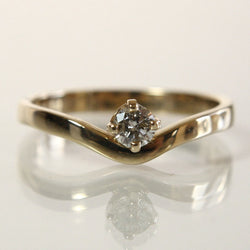Handmade 14K Round Brilliant Diamond Engagement Ring Size 6.75 - Greg DeMark