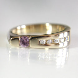 14K Pink Sapphire and Diamond Engagement Ring Size 6 1/2 - Greg DeMark