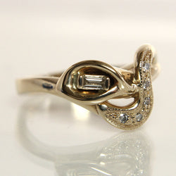 Calla lily Diamond Engagement Ring 14k Yellow Gold Size 7.25 - Greg DeMark