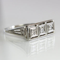 Art Deco Diamond Wedding Ring Vintage 18K White Gold Size 5.75 - Greg DeMark