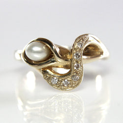 Handmade 14K Pearl Diamond Calla Lily Engagement Ring Size 7 - Greg DeMark