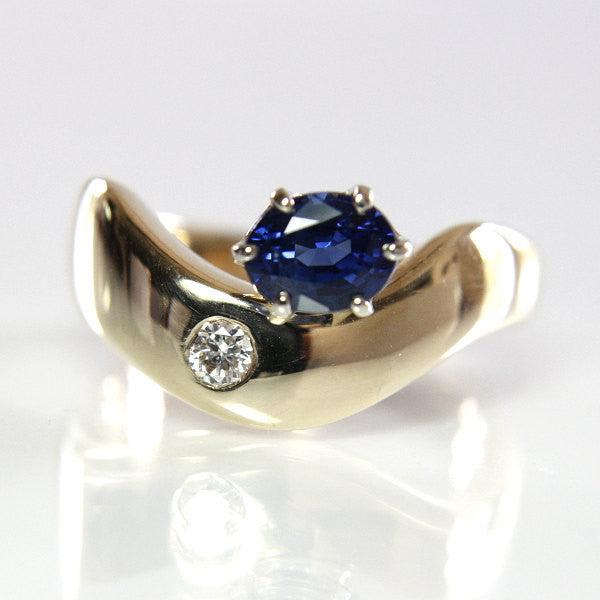 Handmade 14K Blue Sapphire Diamond Engagement Ring Size 6.5 - Greg DeMark