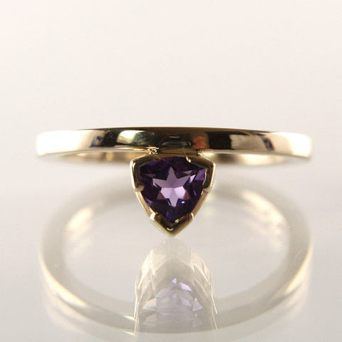 Handmade 14K Amethyst Engagement Ring Size 7 1/4 - Greg DeMark