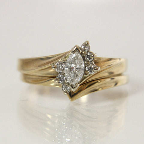 Vintage 14K .37 Carat Marquise Diamond Bridal Wedding Set Size 6.75 - Greg DeMark