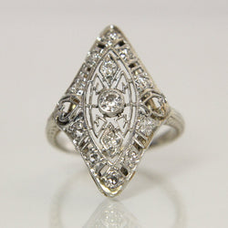 Antique 14K Filigree Diamond Engagement Ring