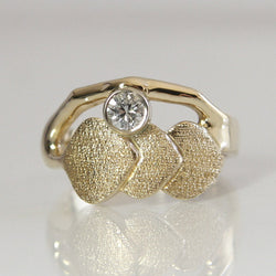 Aspen Leaf Diamond Engagement Ring 14K Yellow Gold Size 7 - Greg DeMark