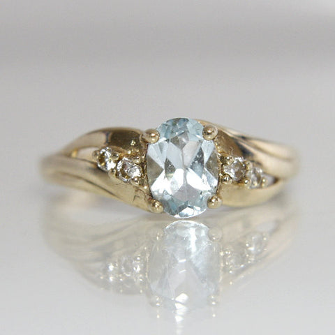 blue topaz engagement ring vintage 10k yellow gold size 7 greg demark - Blue Topaz Wedding Rings
