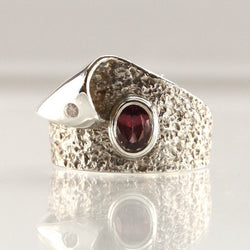 Sterling Rhodolite Garnet And Diamond Wave Ring Size 6.75 - Greg DeMark