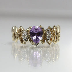 Vintage 14K Gold Amethyst Engagement Ring With Diamonds Size 6.25 - Greg DeMark