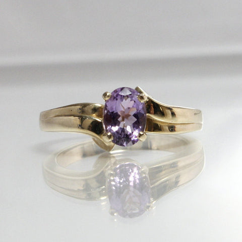 Vintage 14K Oval Amethyst Engagement Ring Size 6 - Greg DeMark