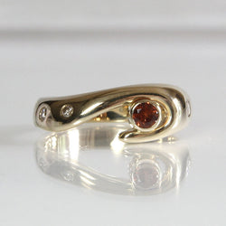 Garnet And Diamond Engagement Ring 14K Yellow Gold Size 6.75 - Greg DeMark
